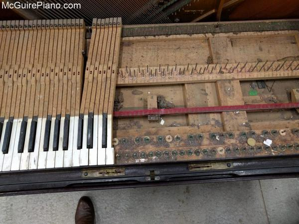 Adam Schaaf player piano keyframe before restoration